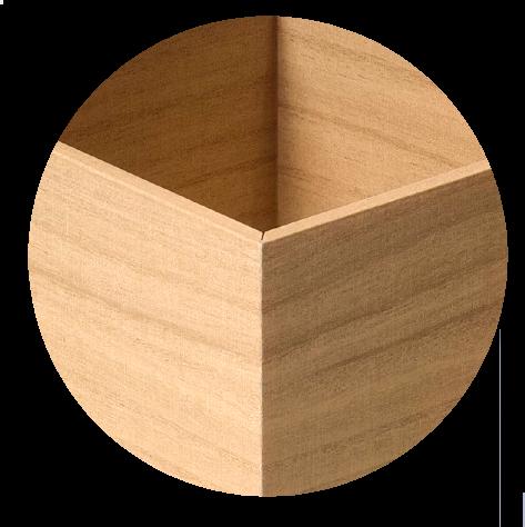 wealboxの「手触りなどの質感・見た目・重量などは、ほとんど桐箱同様です。」画像